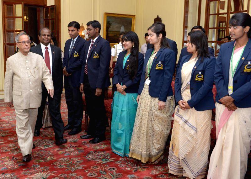 President Pranab Mukherjee meets probationers of Indian Postal Service from Rafi Ahmed Kidwai National Postal Academy and Probationers of Indian P&T Accounts & Finance Service  from National .