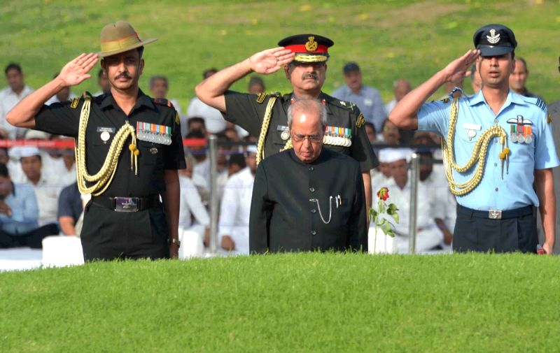President Pranab Mukherjee paying homage at the Samadhi of the former Prime Minister, Pandit Jawaharlal Nehru on his 53rd death anniversary, at Shanti Van, in Delhi on May 27, 2017. - Pranab Mukherjee