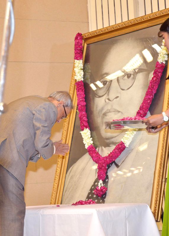 President Pranab Mukherjee pays tribute to Dr. Ambedkar during the 5th Ambedkar Memorial Lecture organised by the Dr. Ambedkar Foundation at Vigyan Bhavan in New Delhi on Sept 4, 2014. - Pranab Mukherjee