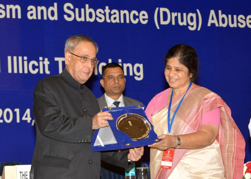 """President Pranab Mukherjee presents """"National Award for Outstanding Services In the Field of Prevention of Alcoholism and Substance (Drug) Against Drug Abuse"""" on United Nations' ..."""