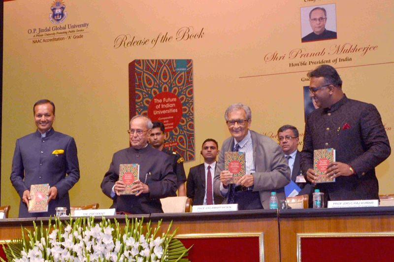 "President Pranab Mukherjee receives the first copy of the book ""The Future of Indian Universities: Comparative and International Perspectives"" at Rashtrapati Bhavan in New Delhi ... - Pranab Mukherjee"