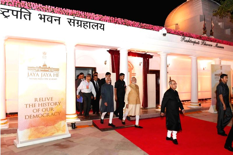 President Pranab Mukherjee, Vice President Hamid Ansari and Prime Minister Narendra Modi with other dignitories during the inauguration of the Rashtrapati Bhavan Museum at Rashtrapati ... - Narendra Modi and Pranab Mukherjee