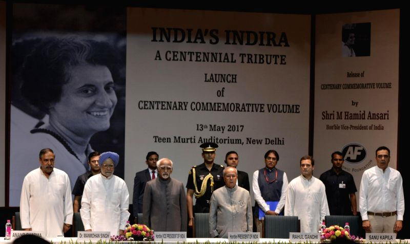 President Pranab Mukherjee, Vice President M Hamid Ansari, former Prime Minister Manmohan Singh, Congress vice-president Rahul Gandhi and Congress leader Anand Sharma during the launch of ... - Manmohan Singh, Pranab Mukherjee, Rahul Gandhi and Anand Sharma