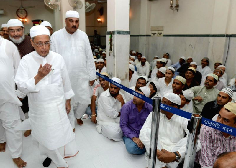 President Pranab Mukherjee visits President's Estate Masjid to participate in the `Dua` on the occasion of `Khatam Shareef` in New Delhi on July 21, 2014. `Khatam Shareef` marks the day of ... - Pranab Mukherjee