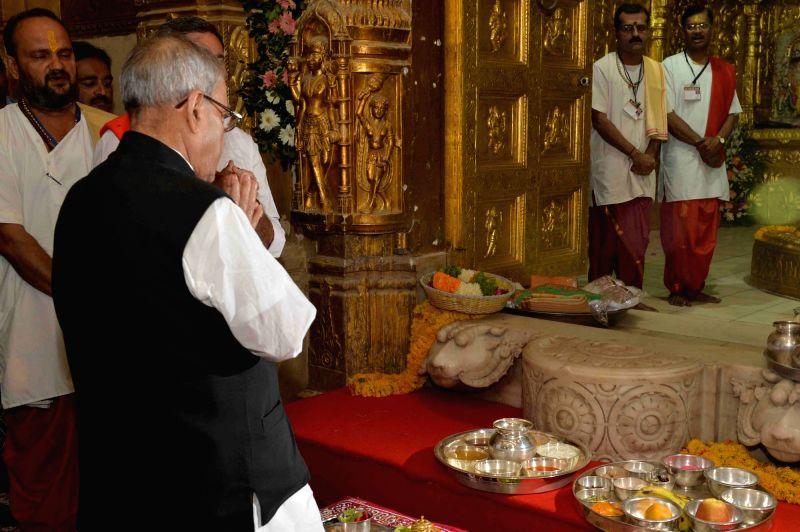President Pranab Mukherjee visits the Somnath Temple in Gujarat on Dec 1, 2015. - Pranab Mukherjee