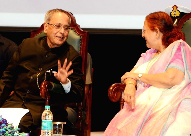 President Pranab Mukherjee with Lok Sabha Speaker Sumitra Mahajan during the presentation ceremony of the Outstanding Parliamentarian Awards for the years 2010, 2011 and 2012, at Balayogi Auditorium, - Sumitra Mahajan and Pranab Mukherjee