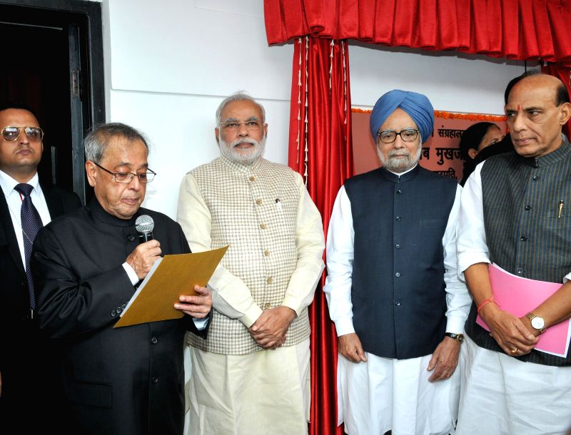 President Pranab Mukherjee with Prime Minister Narendra Modi, former Prime Minister Manmohan Singh and Union Home Minister Rajnath Singh during a programme organised to dedicate the Rashtrapati ... - Narendra Modi, Manmohan Singh and Rajnath Singh