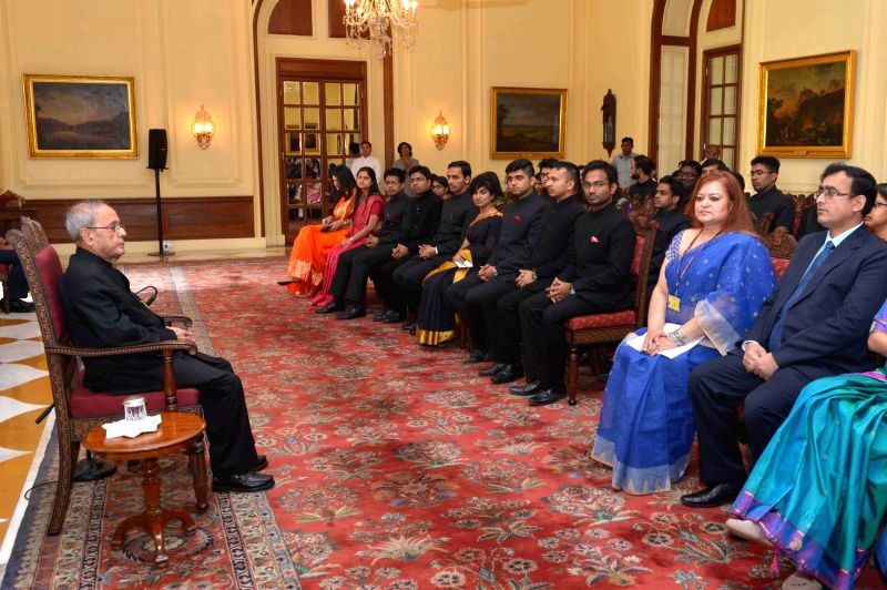 President Pranab Mukherjee with the Officer Trainees of Indian Foreign Service from Foreign Service Institute, at Rashtrapati Bhavan, in New Delhi on April 6, 2016. - Pranab Mukherjee