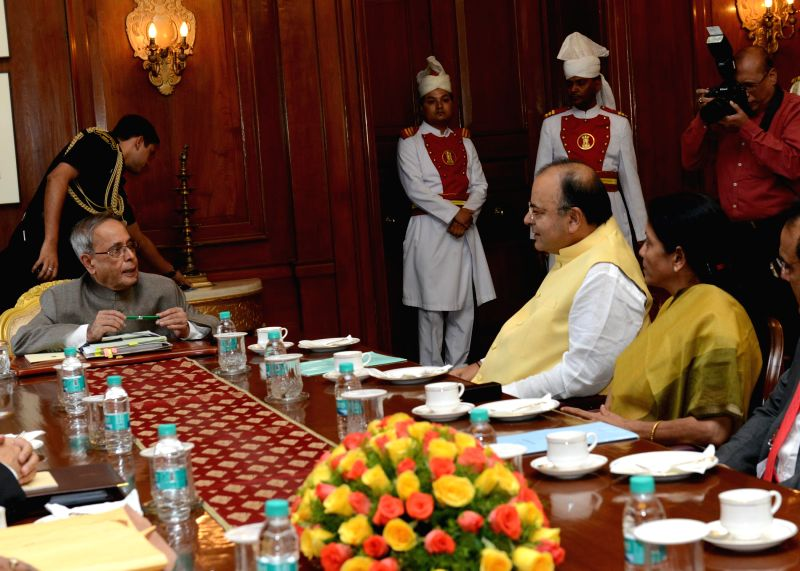 President Pranab Mukherjee with Union Minister for Finance, Corporate Affairs and Defence Arun Jaitley and MoS Commerce and Industry (Independent Charge), Finance and Corporate Affairs Nirmala ... - Arun Jaitley
