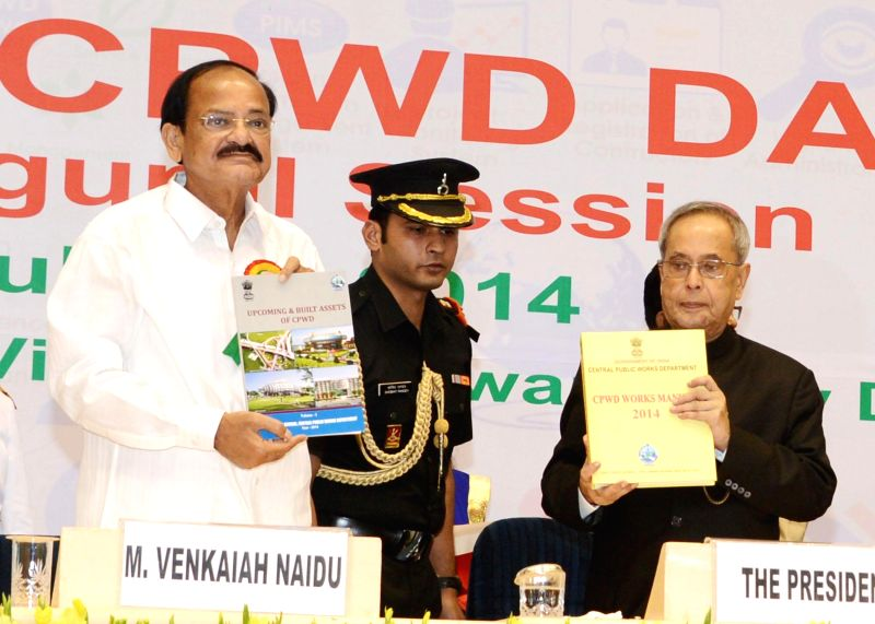 President Pranab Mukherjee with Union Minister for Urban Development, Housing and Urban Poverty Alleviation and Parliamentary Affairs M. Venkaiah Naidu during a programme organised to celebrate 160th - M. Venkaiah Naidu and Pranab Mukherjee