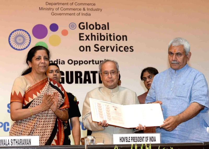 President Pranab Mukherjee with Union Ministers Manoj Sinha and Nirmala Sitharaman at the inauguration of the 3rd Edition of the Global Exhibition on services (GES-2017), at Rashtrapati ... - Ministers Manoj Sinha, Nirmala Sitharaman and Pranab Mukherjee