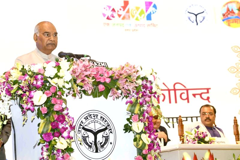 President Ram Nath Kovind addresses at the inauguration of 'One District, One Product' summit, in Lucknow, on Aug 10, 2018. - Nath Kovind