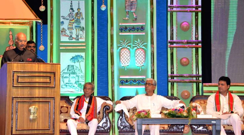 President Ram Nath Kovind addresses at the civic reception hosted for him by the state government of Tripura in Agartala on June 7, 2018. Also seen Tripura Chief Minister Biplab Kumar Deb ... - Biplab Kumar Deb and Nath Kovind
