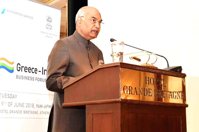 President Ram Nath Kovind addresses at the India-Greek Business Forum Meeting in Athens, Greece on June 19, 2018.(Image Source: IANS/PIB)