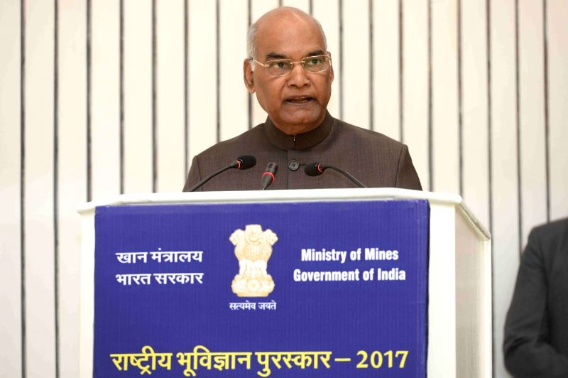 President Ram Nath Kovind addresses during National Geoscience Awards 2017, in New Delhi on May 16, 2018. - Nath Kovind