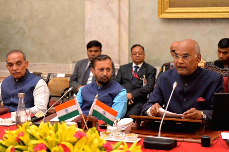 President Ram Nath Kovind addresses during a meeting with Directors of NITs, IIEST, SPAs, IIIT and IITs(PPP),in New Delhi, on July 19, 2018.  Also seen Union Human Resource Development ... - Prakash Javadekar and Nath Kovind