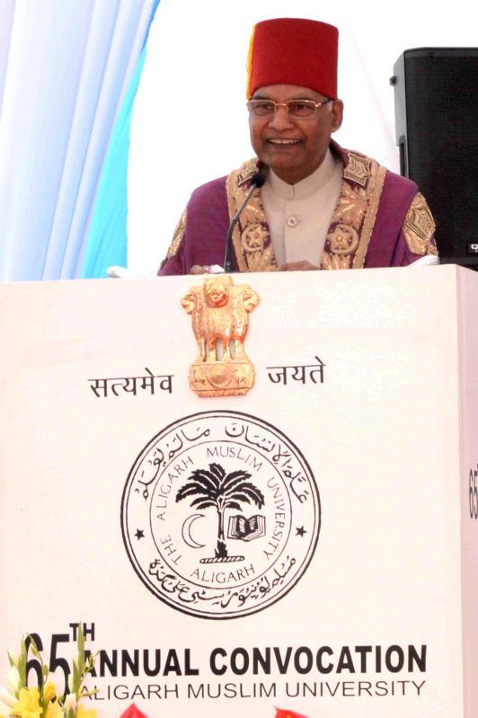 President Ram Nath Kovind addresses during the convocation of Aligarh Muslim University on March 7, 2018. - Nath Kovind