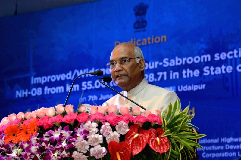 President Ram Nath Kovind addresses during the inauguration of National Highway from Matabari to Sabroom at Udaipur in Gomati district of Tripura on June 7, 2018. - Nath Kovind