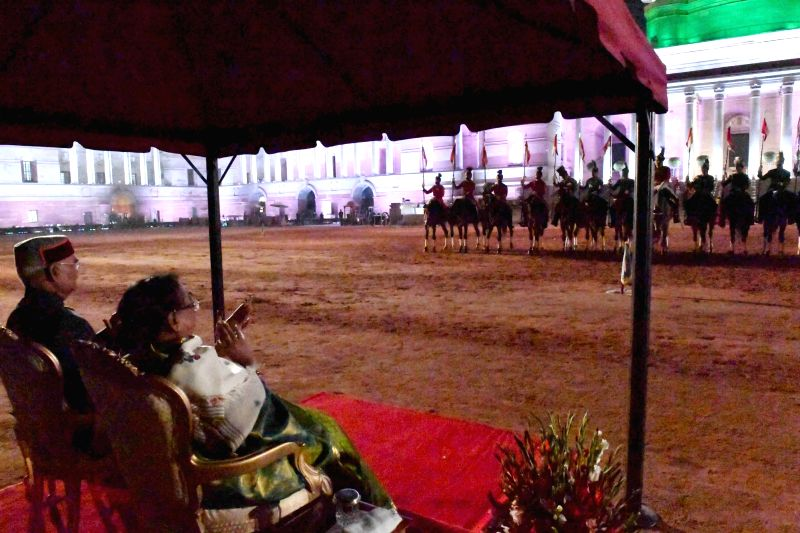President Ram Nath Kovind along with and First Lady of India witness the performance by the President's Bodyguard (PBG), Army Guard and Sand Artist on the occasion of Rashtrapati Bhavan ... - Nath Kovind