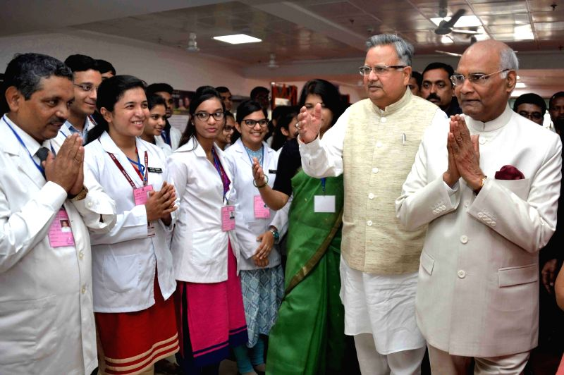 President Ram Nath Kovind and Chhattisgarh Chief Minister Raman Singh at the inauguration of the medical college and hospital, at late Baliram Kashyap Memorial College Campus in Jagdalpur, ... - Raman Singh and Nath Kovind