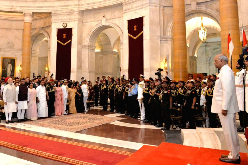 President Ram Nath Kovind arrives at Defence Investiture - II for Presentation of Gallantry Awards and Distinguished Service Decorations at Rashtrapati Bhawan in New Delhi on April 23, ... - Nath Kovind