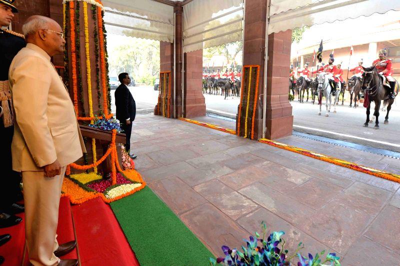 President Ram Nath Kovind arrives at the Parliament House to address both the houses in New Delhi on Jan. 29, 2018. - Nath Kovind