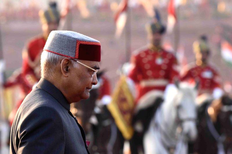 President Ram Nath Kovind arrives to witness the Beating Retreat ceremony at Vijay Chowk in New Delhi, on Jan 29, 2018. - Nath Kovind