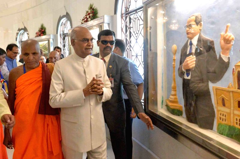 President Ram Nath Kovind during his visit to Dr. B.R. Ambedkar's memorial on his 127th birth anniversary, in Mhow, Madhya Pradesh on April 14, 2018. - Nath Kovind