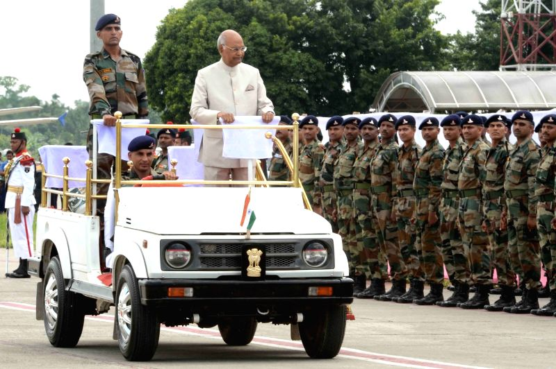 President Ram Nath Kovind inspects Guard of Honour on his arrival at Agartala airport on June 7, 2018. - Nath Kovind