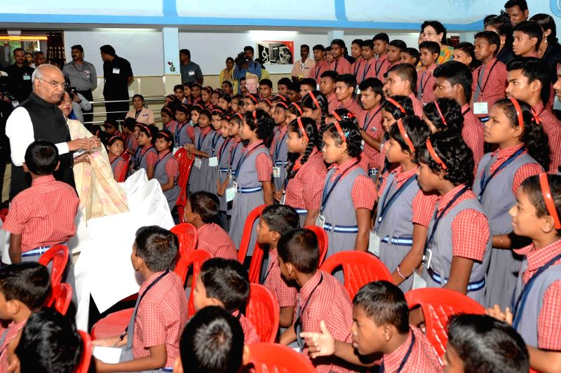 President Ram Nath Kovind interacts with Saksham School students in Shri Atal Bihari Vajpayee Education City premises at Jawanga in Dantewada district of Chhattisgarh on July 25, 2018. - Nath Kovind