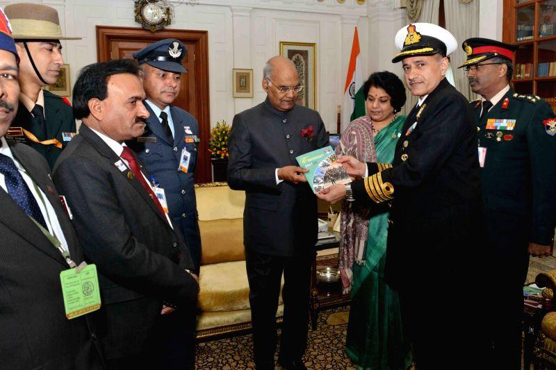 President Ram Nath Kovind, Kendriya Sainik Board Secretary Brig. M. H. Rizvi and other dignitaries during Armed Forces Flag Day at Rashtrapati Bhavan on Dec 7, 2017. - Nath Kovind