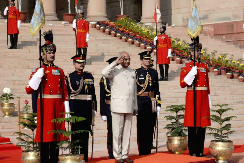 President Ram Nath Kovind leaving the Rashtrapati Bhavan for Parliament to address both the houses of Parliament in New Delhi on Jan. 29, 2018. - Nath Kovind