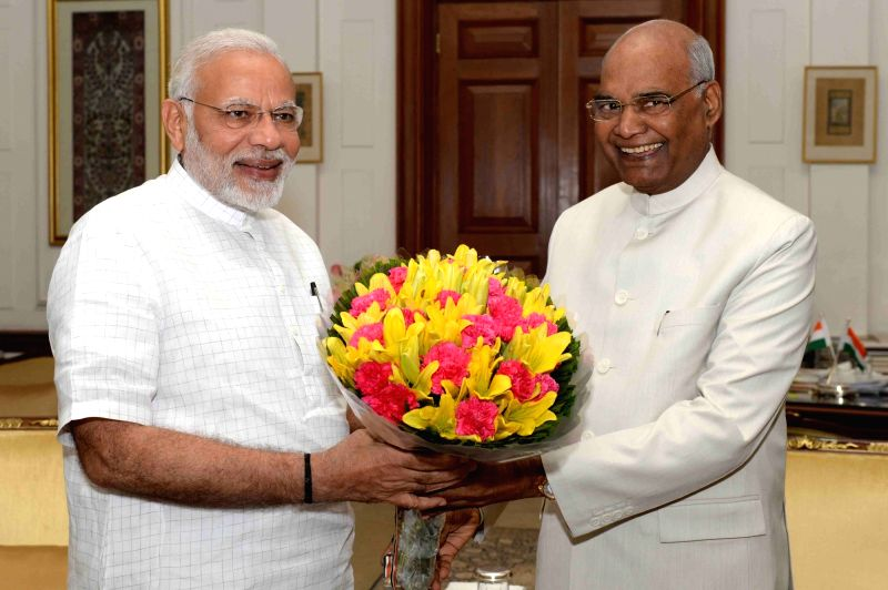 President Ram Nath Kovind meets Prime Minister Narendra Modi at Rashtrapati Bhavan, in New Delhi on June 11, 2018. - Narendra Modi and Nath Kovind
