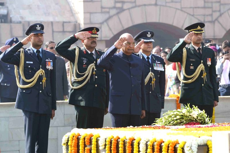 President Ram Nath Kovind pays tribute on the occasion of 70th Death Anniversary of Mahatma Gandhi at Rajghat on Jan. 30. 2018. - Nath Kovind