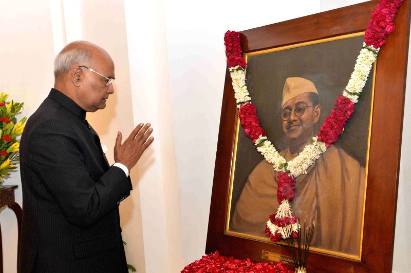 President Ram Nath Kovind pays tributes to Netaji Subhas Chandra Bose on his birth anniversary at Rashtrapati Bhavan in New Delhi on Jan 23, 2018.