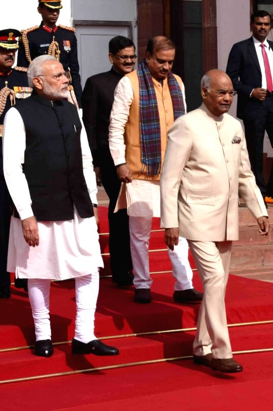 President Ram Nath Kovind, Prime Minister Narendra Modi and Union Minister Ananth Kumar walk towards the central hall of Parliament House for President's address to both houses of ... - Narendra Modi, Nath Kovind and Ananth Kumar