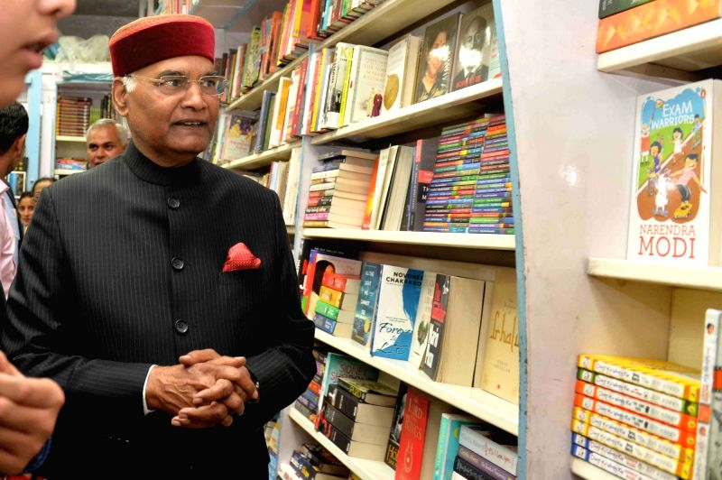 President Ram Nath Kovind visits a book shop in Shimla's Mall Road on May 22, 2018. - Nath Kovind