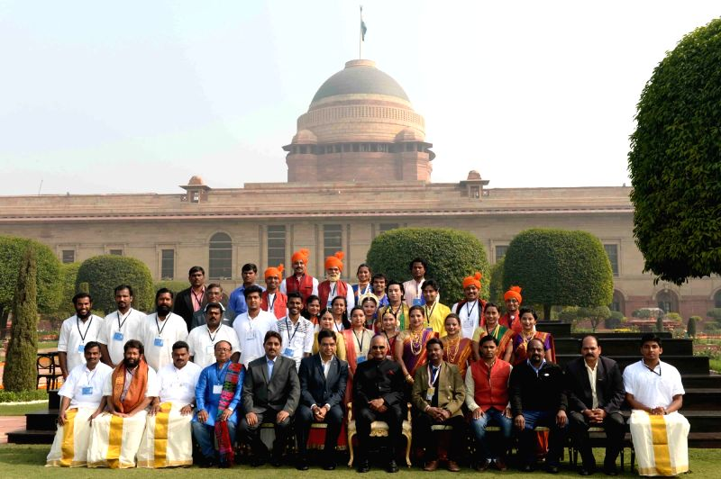 President Ram Nath Kovind with the artistes who had participated in the 69th Republic Day Parade at Rashtrapati Bhavan in New Delhi on Jan 27, 2018. - Nath Kovind