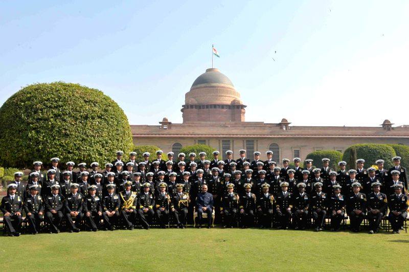 President Ram Nath Kovind with the Indian Navy Band Contingents (participants of the Beating Retreat Ceremony) and Provost Outrides at Rashtrapati Bhavan in New Delhi on Jan 30, 2018. - Nath Kovind