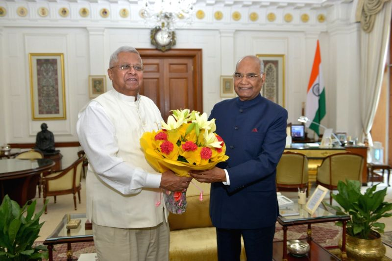 President Ram Nath Kovind with Tripura Governor Tathagata Roy. - Nath Kovind and Tathagata Roy