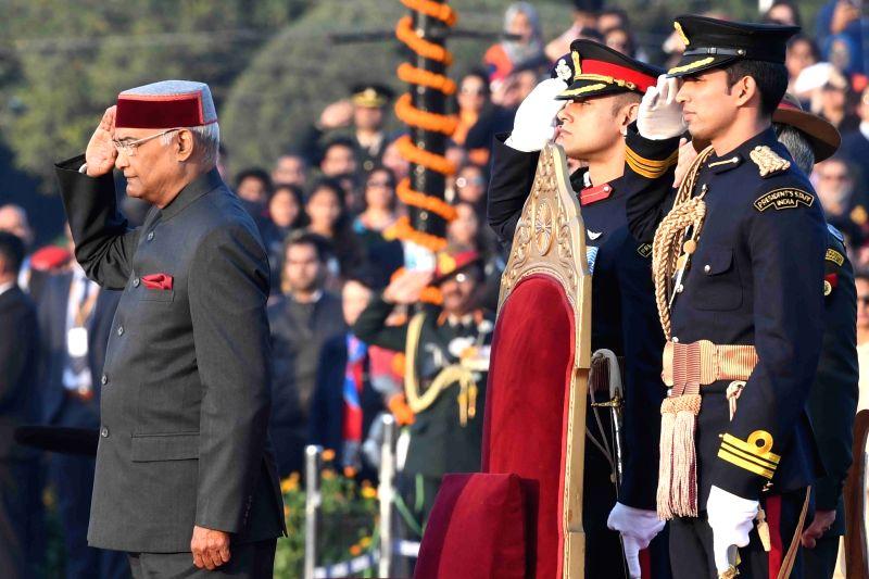 President Ram Nath Kovind witnesses the Beating Retreat ceremony at Vijay Chowk in New Delhi, on Jan 29, 2018. - Nath Kovind