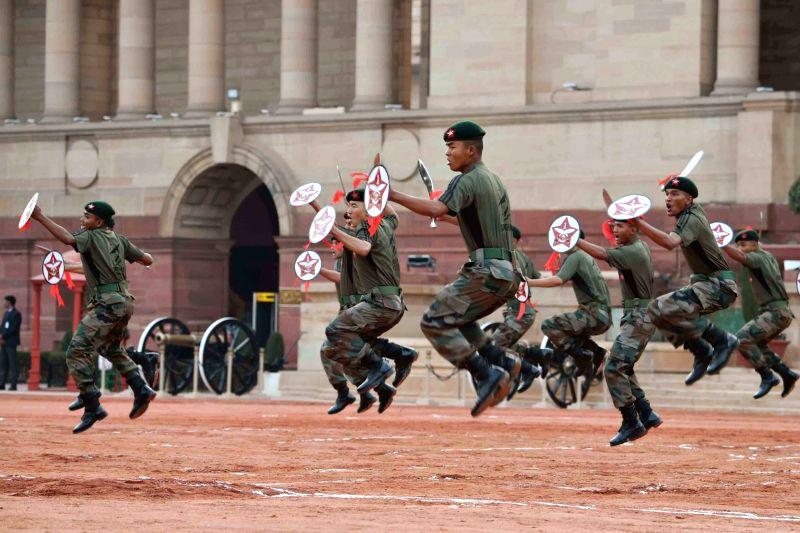 President's Bodyguard (PBG), Army Guard and Sand artistes perform on the occasion of Rashtrapati Bhavan Divas at Rashtrapati Bhavan in New Delhi on Feb 2, 2018.