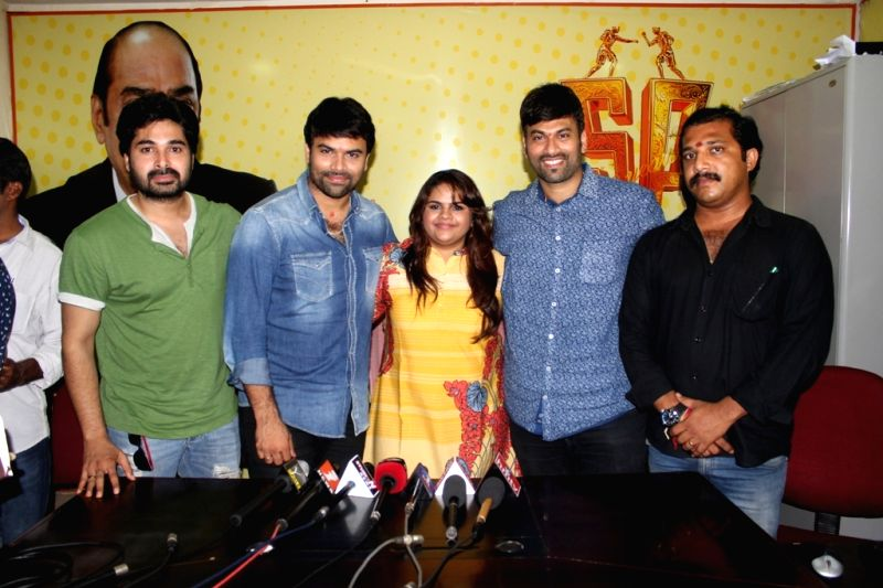 Press meet from Telugu film `Raju gari gadi`.