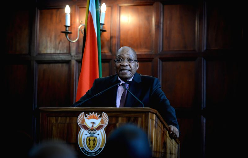 South Africa's President Jacob Zuma addresses a media briefing after meeting with stakeholders in Pretoria, South Africa, on April 22, 2015. South African ...