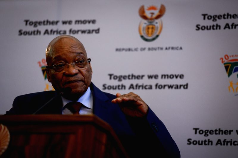 South African President Jacob Zuma addresses a media briefing after meeting with leaders of organizations representing foreigners in Pretoria, South Africa, on ...
