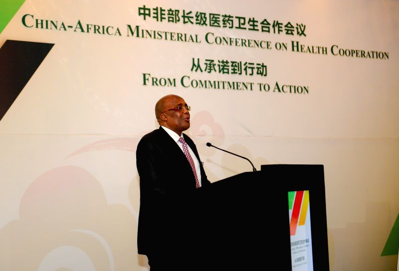 PRETORIA, April 24, 2017 - South African Health Minister?Aaron?Motsoaledi addresses the China-Africa Ministerial Conference on Health Cooperation?in Pretoria, South?Africa, on April 24, 2017. China ...