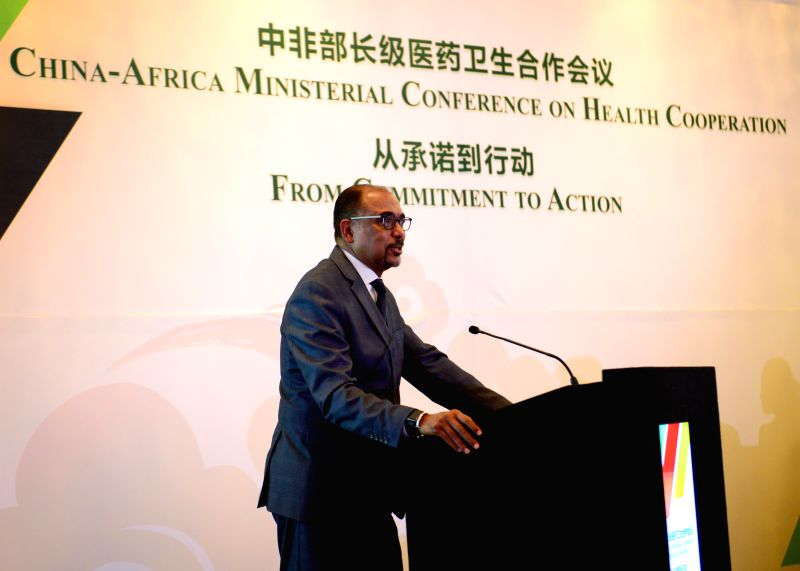 PRETORIA, April 24, 2017 - UN under-secretary-general and executive director of UNAIDS Michel Sidibe addresses the China-Africa Ministerial Conference on Health Cooperation?in Pretoria, South?Africa, ...