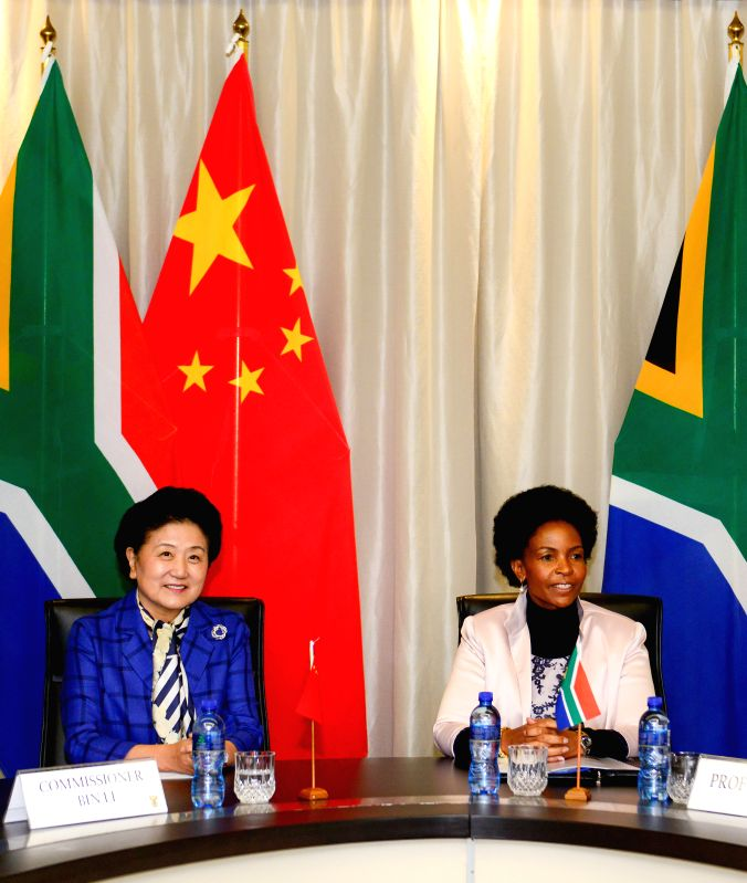 PRETORIA, April 25, 2017 - Chinese Vice Premier Liu Yandong (L) meets with South African Foreign Minister Maite Nkoana-Mashabane in Pretoria, South Africa, on April 25, 2017. - Maite Nkoana-Mashabane