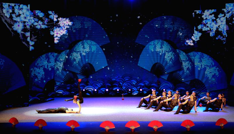 """PRETORIA, April 26, 2017 - Chinese acrobats perform acrobatics """"Buckjumps and Rhythm: Pagoda of Bowls"""" during the China-South Africa Hand in Hand Gala in Pretoria, South Africa, April 25, ..."""