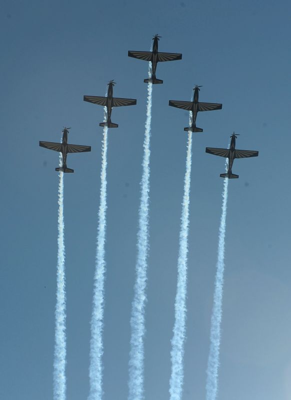Planes of a South African aerobatic team perform during a celebration to commemorate the Freedom Day in Pretoria, South Africa, on April 27, 2014. The Freedom Day